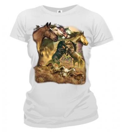 Tričko dámske - Divoké kone