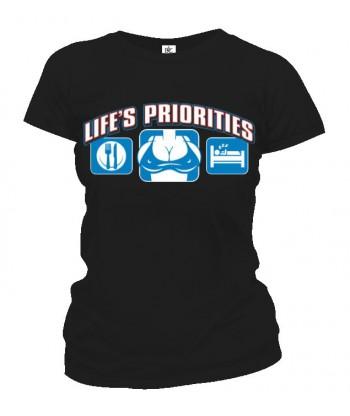 Tričko dámske - Životné priority - Prsia