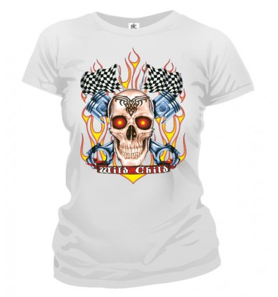 Tričko dámske - Racing Skull