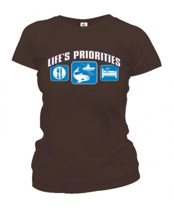 Tričko dámske - Životné priority - Rybárstvo
