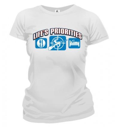 Tričko dámske - Životné priority - Poľovníctvo
