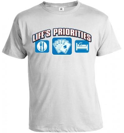Tričko pánske - Životné priority - Poker