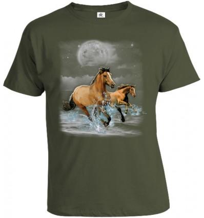 Tričko pánske - Kone v mesačnom svite