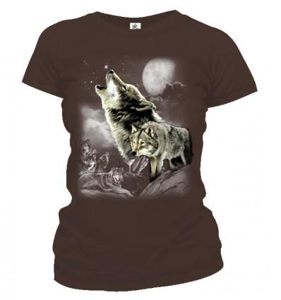 Tričko dámske - Vlk v mesačnom svite