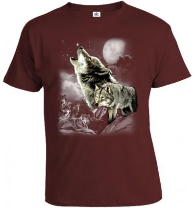 Tričko pánske - Vlk v mesačnom svite