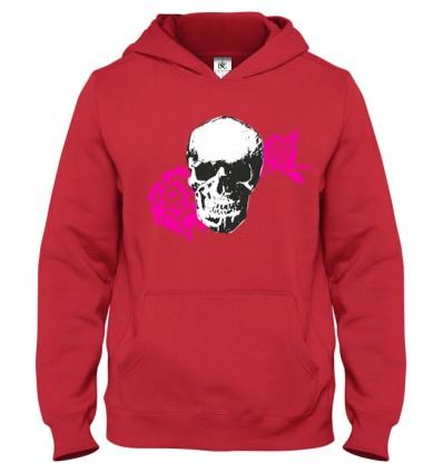 Mikina s kapucňou Skull Rose