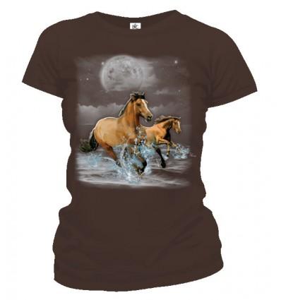 Tričko dámske - Kone v mesačnom svite